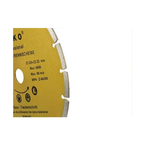 Gyémánt vágótárcsa 230x8x22,2mm szegmentált PROFI