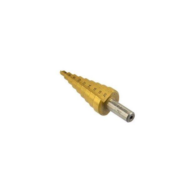 Lépcsős lemezfúró 4-20mm, TIN bevonat